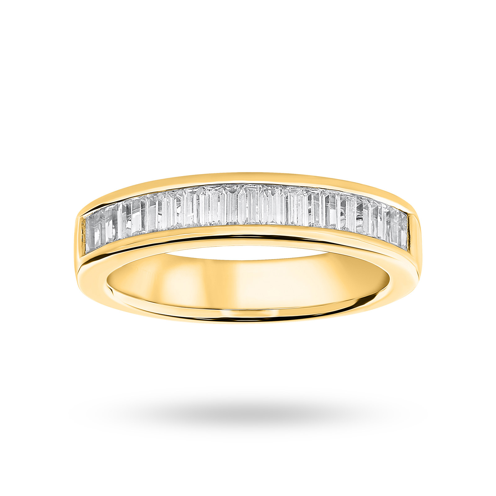 18 Carat Yellow Gold 0.75 Carat Baguette Cut Half Eternity Ring