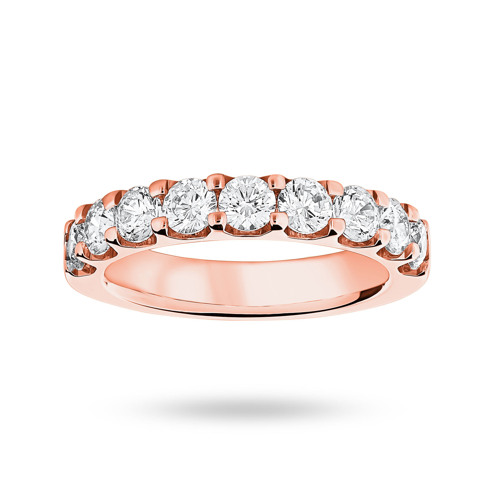 9 Carat Rose Gold 1.45 Carat Brilliant Cut Half Eternity