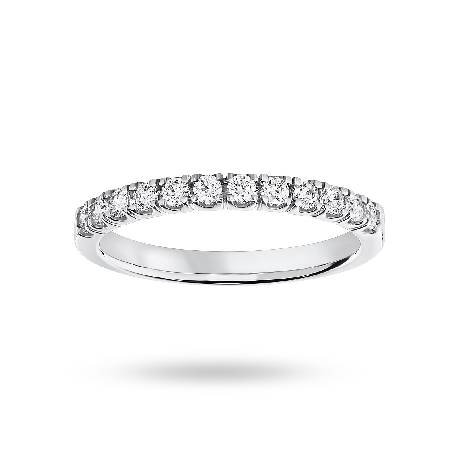 Platinum 0.33 Carat Brilliant Cut Under Bezel Half Eternity Ring