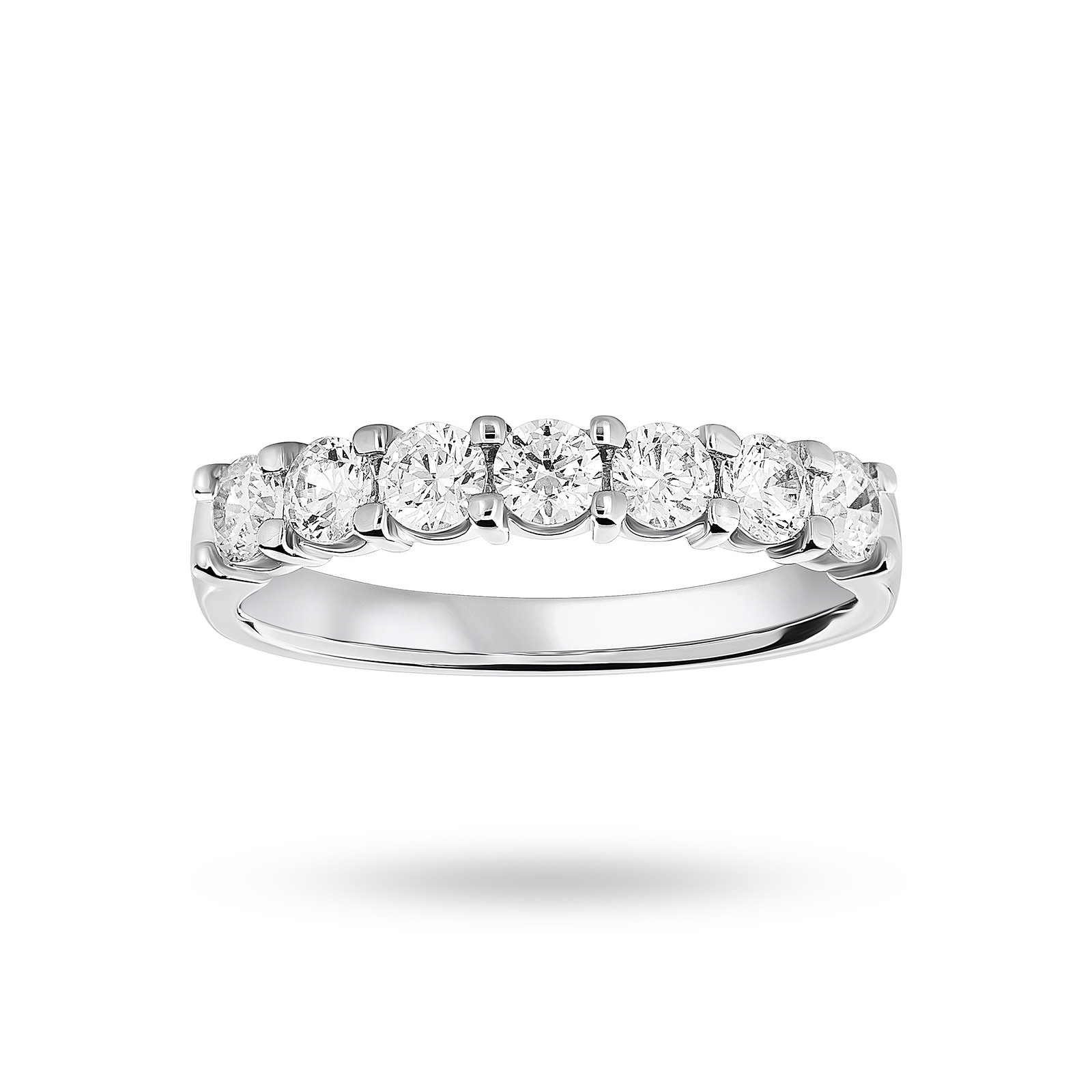 Platinum 0.75 Carat Brilliant Cut Under Bezel Half Eternity Ring