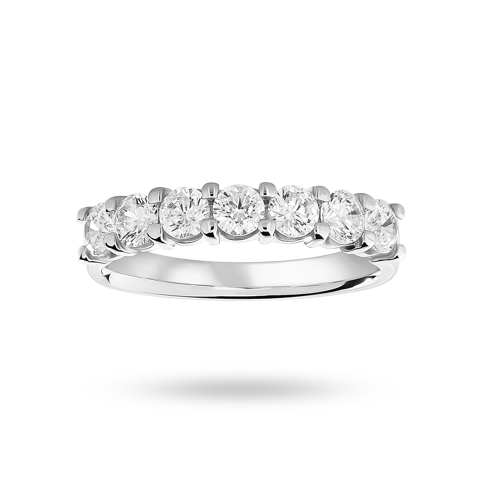 Platinum 1.00 Carat Brilliant Cut Under Bezel Half Eternity Ring