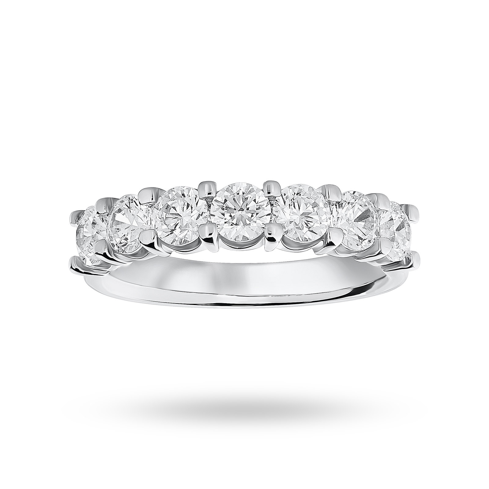 Platinum 1.30 Carat Brilliant Cut Under Bezel Half Eternity Ring