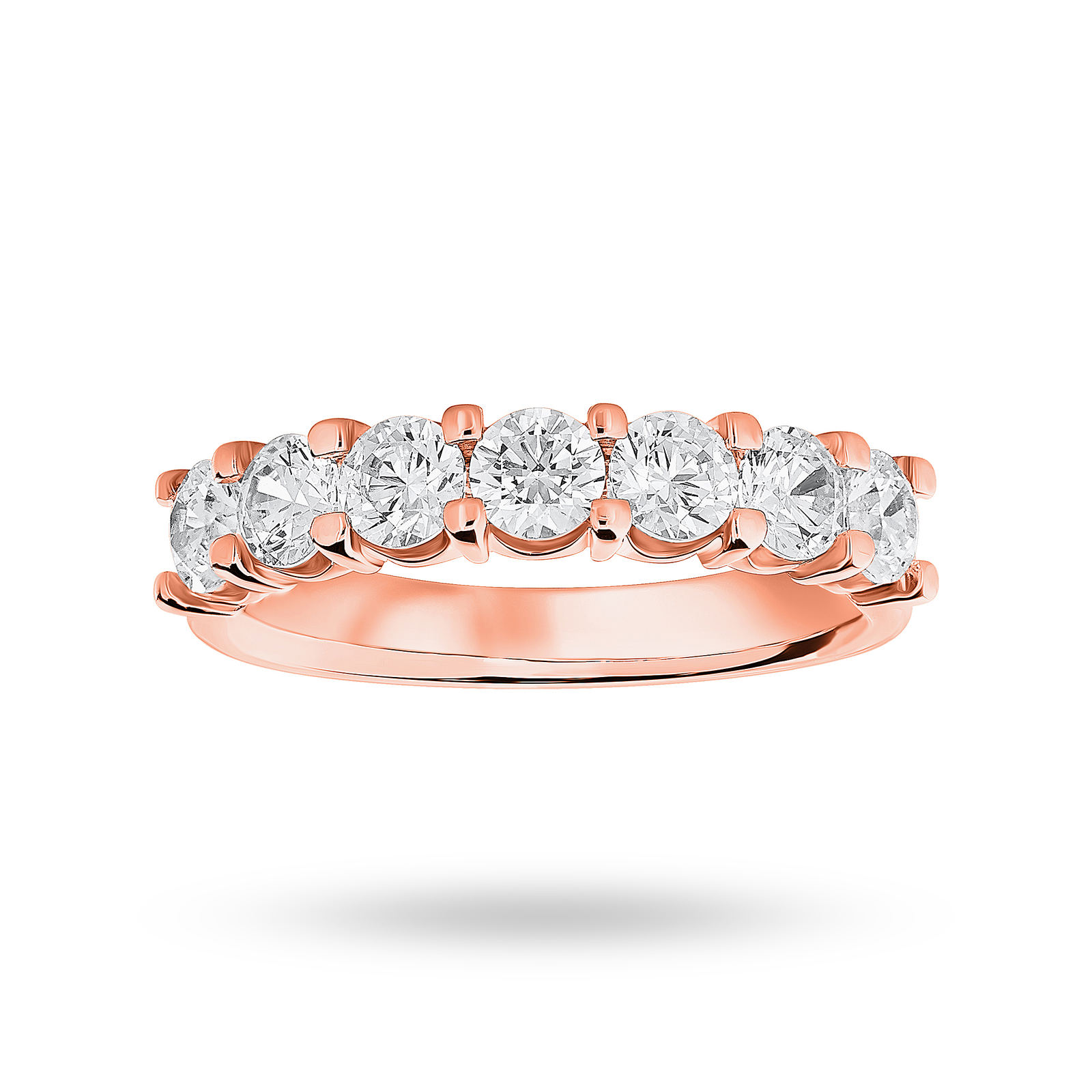 18 Carat Rose Gold 1.30 Carat Brilliant Cut Under Bezel Half Eternity Ring