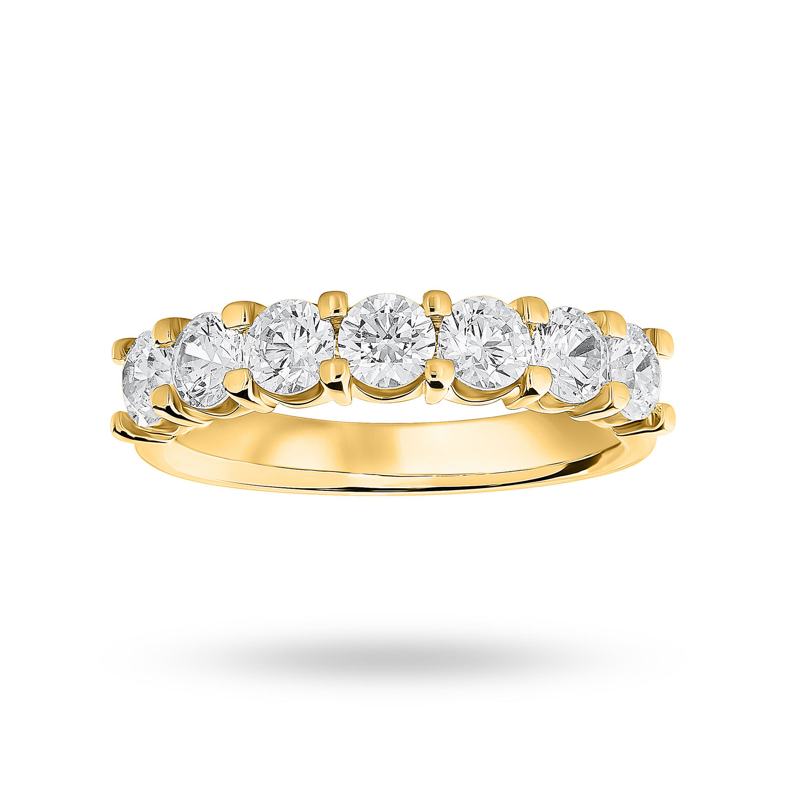 18 Carat Yellow Gold 1.30 Carat Brilliant Cut Under Bezel Half Eternity Ring