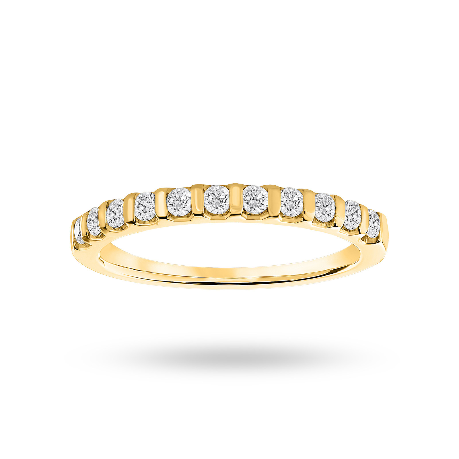 18 Carat Yellow Gold 0.30 Carat Brilliant Cut Bar Half Eternity Ring