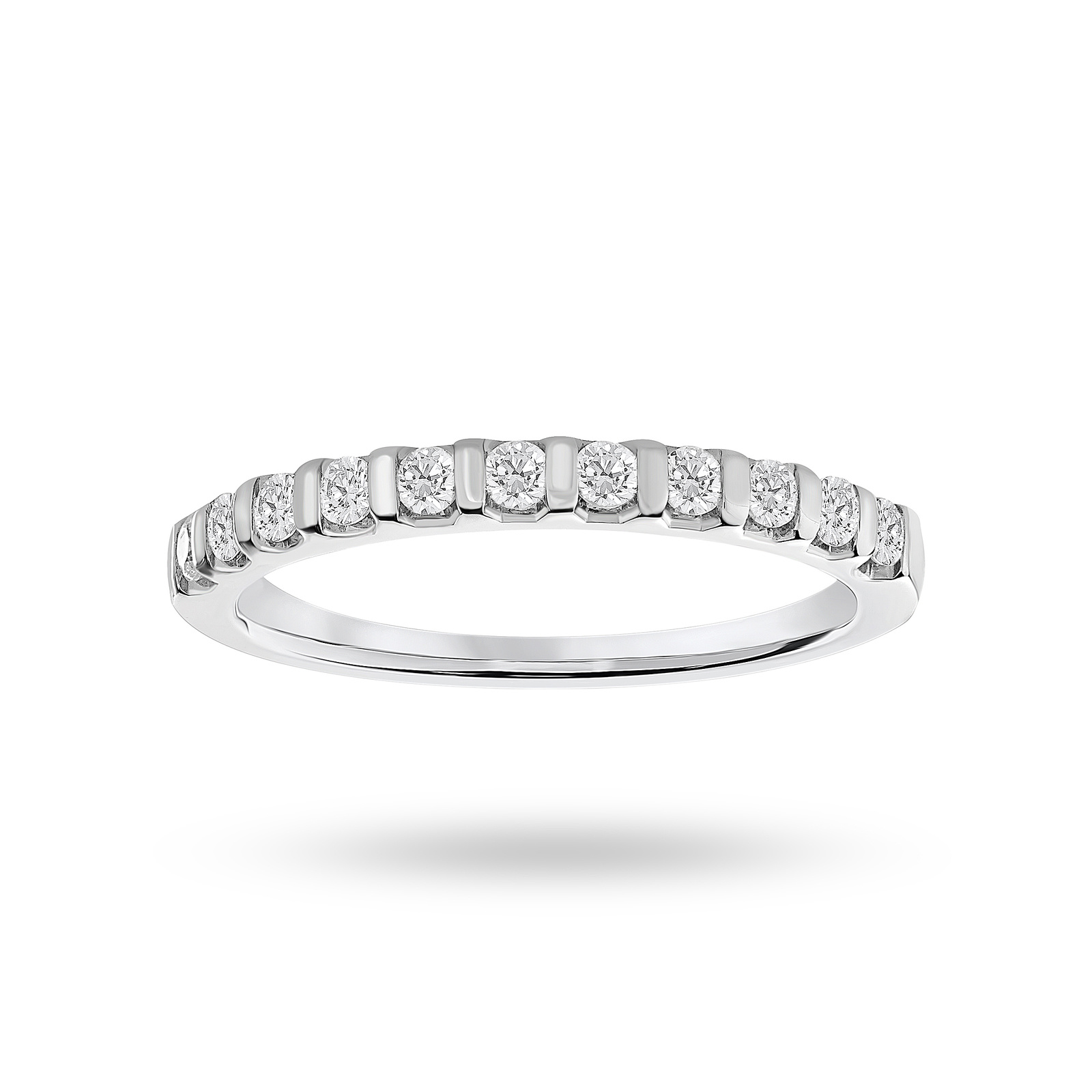 9 Carat White Gold 0.30 Carat Brilliant Cut Bar Half Eternity Ring