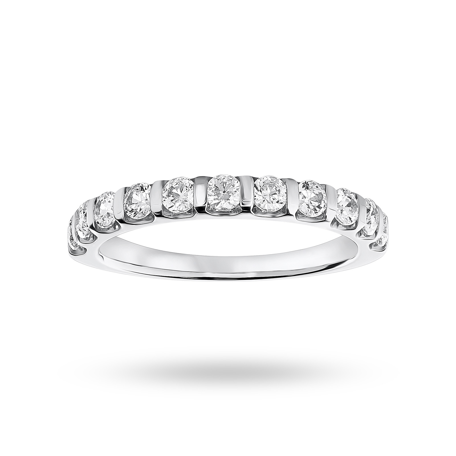 Platinum 0.50 Carat Brilliant Cut Bar Half Eternity Ring