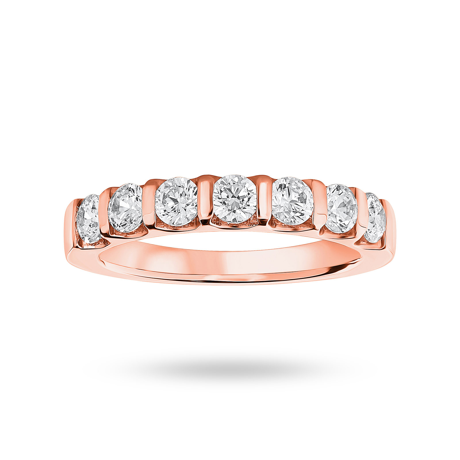 18 Carat Rose Gold 0.77 Carat Brilliant Cut Bar Half Eternity Ring