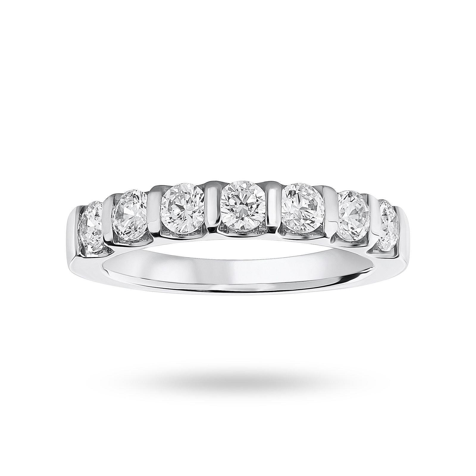 18 Carat White Gold 0.77 Carat Brilliant Cut Bar Half Eternity Ring