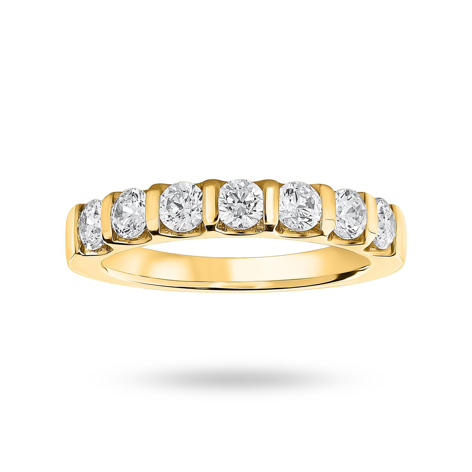 18 Carat Yellow Gold 0.77 Carat Brilliant Cut Bar Half Eternity Ring