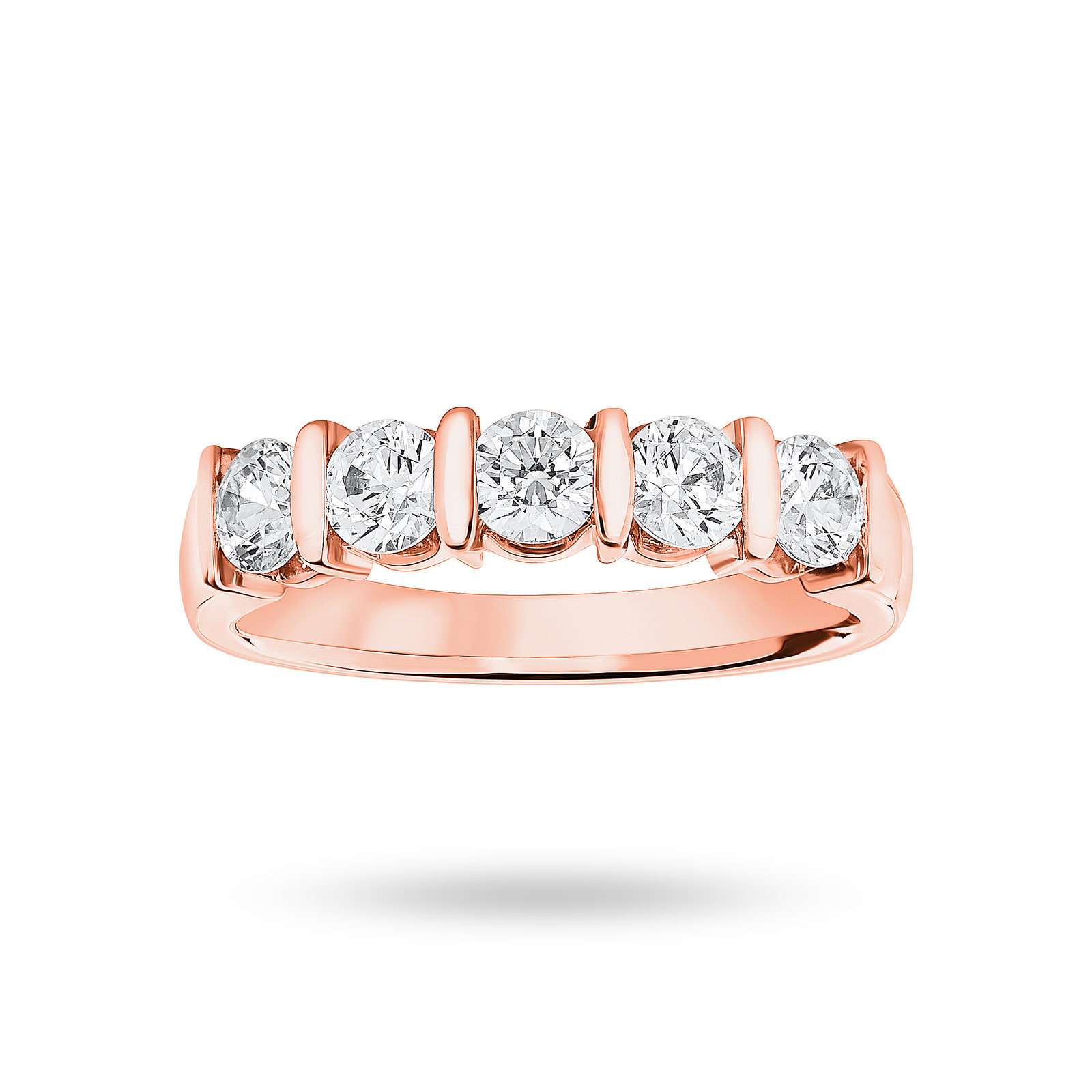 18 Carat Rose Gold 0.90 Carat Brilliant Cut Bar Half Eternity Ring