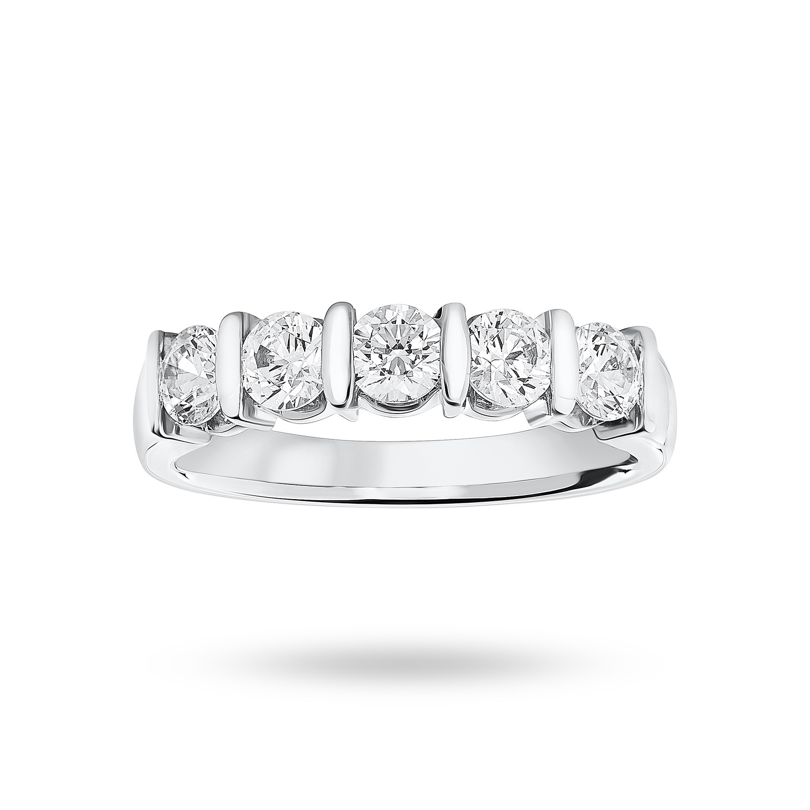 18 Carat White Gold 0.90 Carat Brilliant Cut Bar Half Eternity Ring