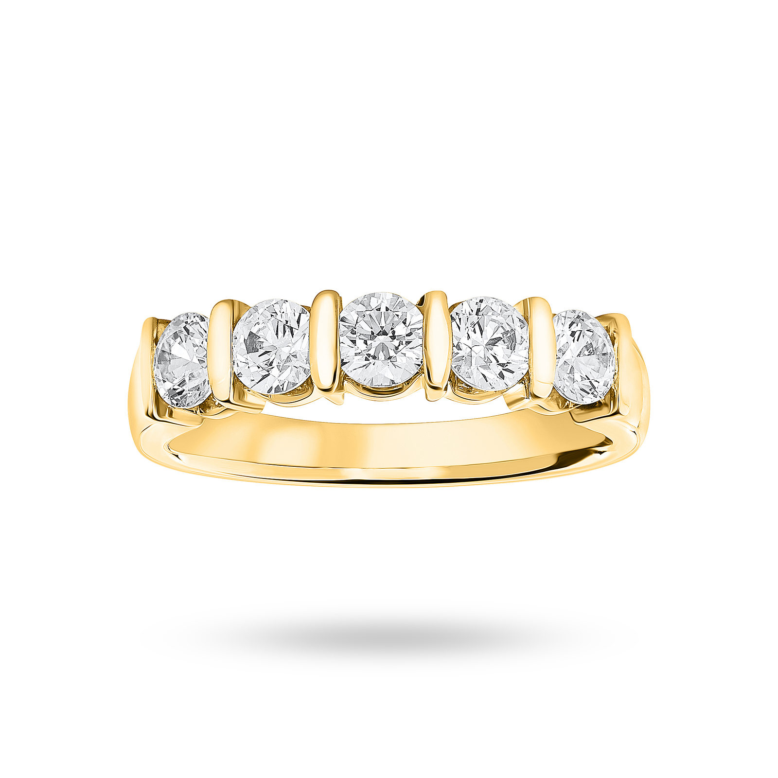 18 Carat Yellow Gold 0.90 Carat Brilliant Cut Bar Half Eternity Ring