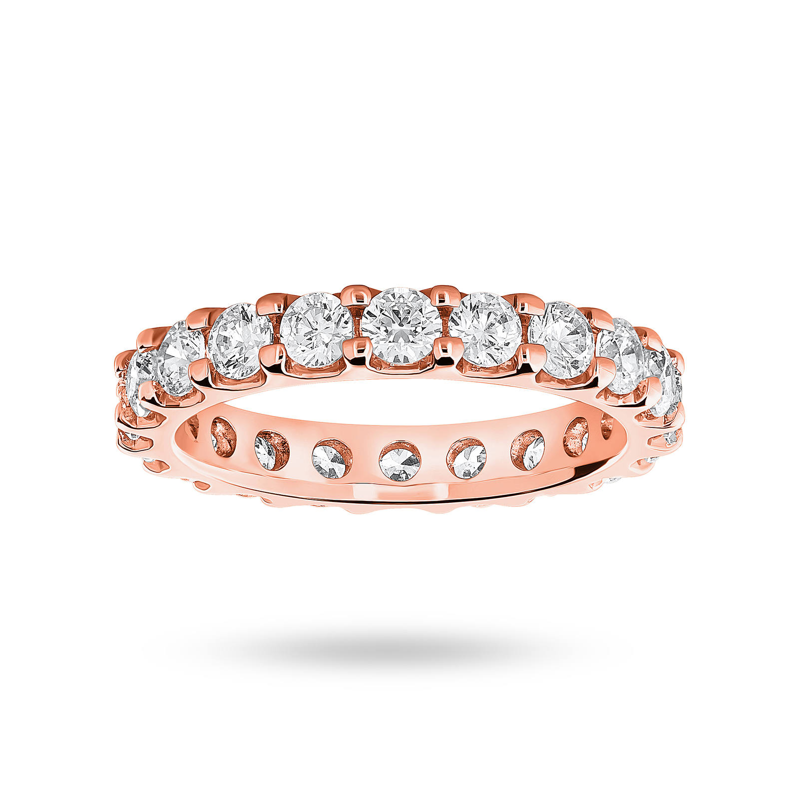18 Carat Rose Gold 2.00 Carat Brilliant Cut Claw Set Full Eternity Ring