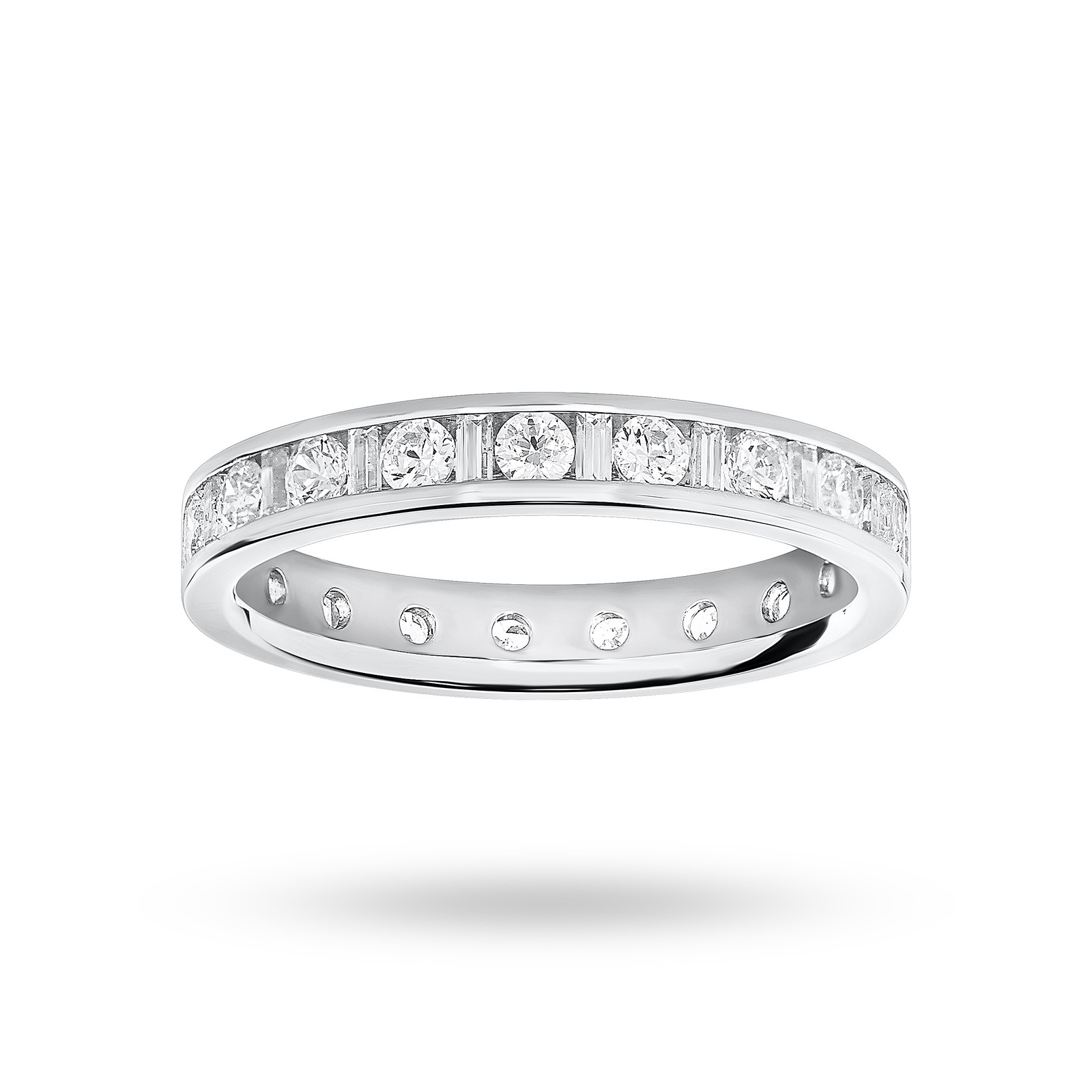 9 Carat White Gold 1.00 Carat Dot Dash Channel Set Full Eternity Ring