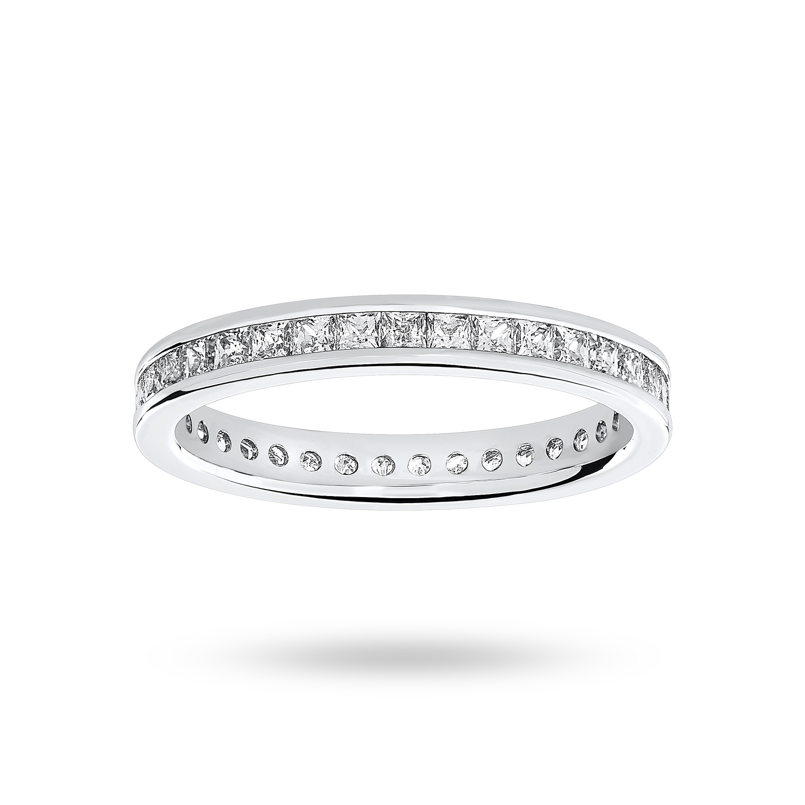 18 Carat White Gold 1.00 Carat Princess Cut Channel Set Full Eternity Ring