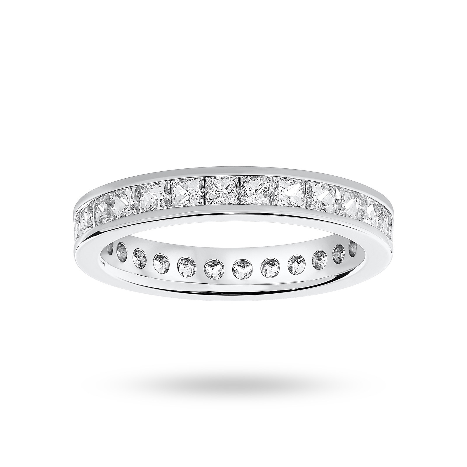 18 Carat White Gold 2.00 Carat Princess Cut Channel Set Full Eternity Ring