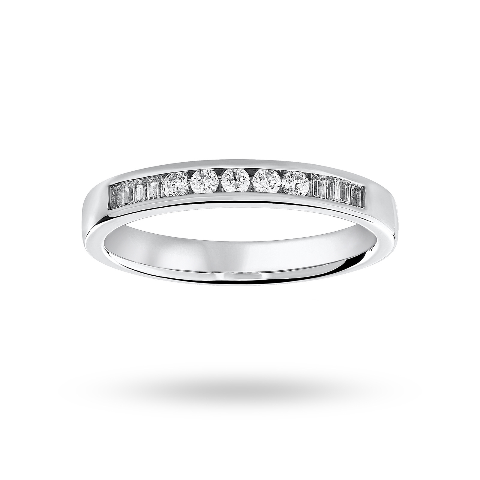 Platinum 0.20 Carat Brilliant Cut and Baguette Channel Set Half Eternity Ring