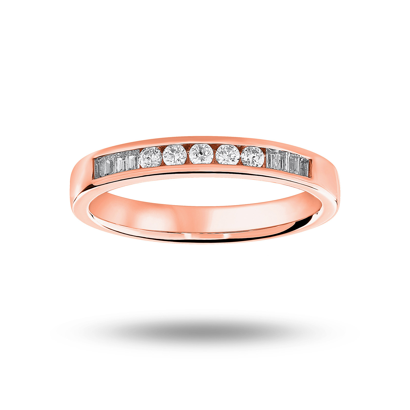 18 Carat Rose Gold 0.20 Carat Brilliant Cut and Baguette Channel Set Half Eternity Ring