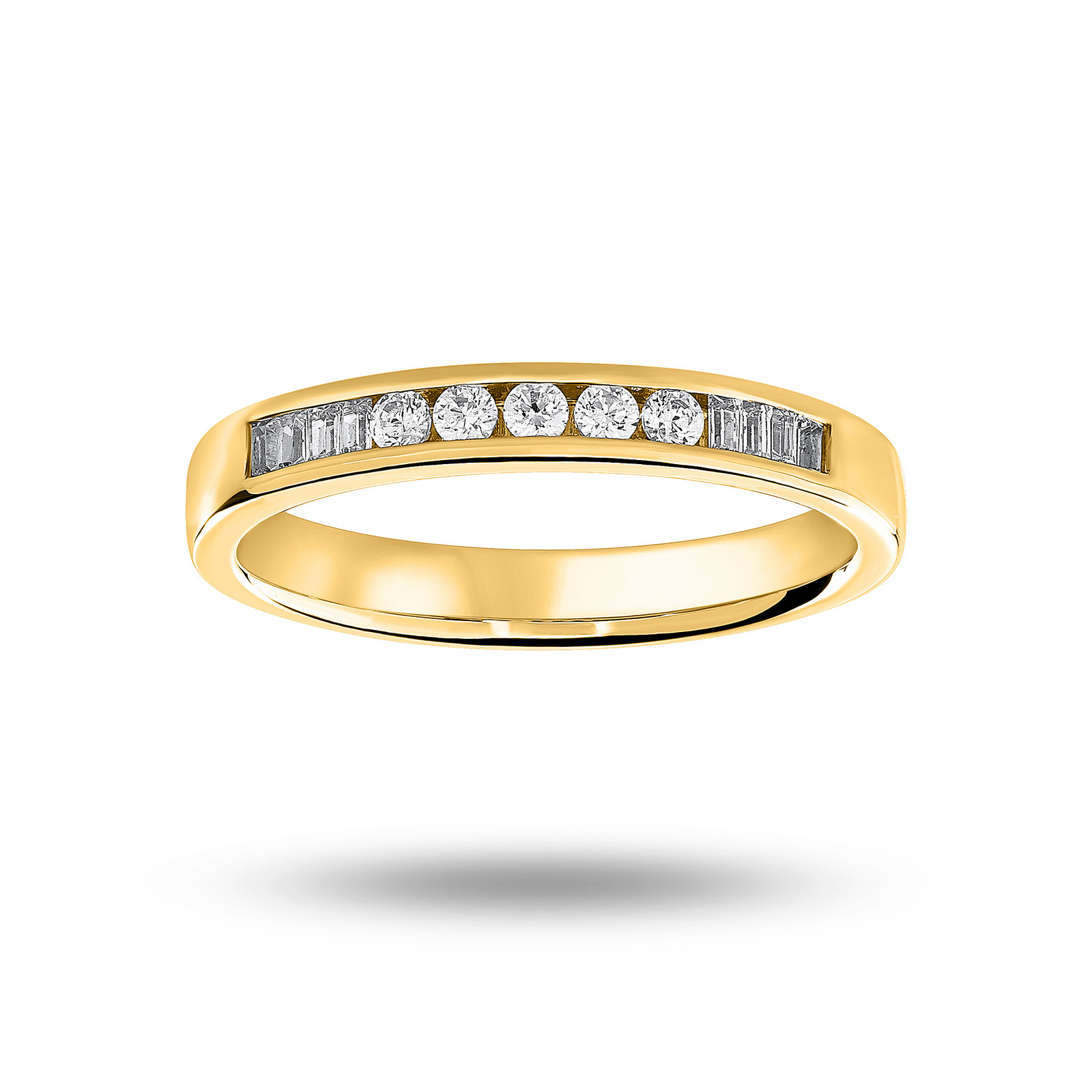 18 Carat Yellow Gold 0.20 Carat Brilliant Cut and Baguette Channel Set Half Eternity Ring