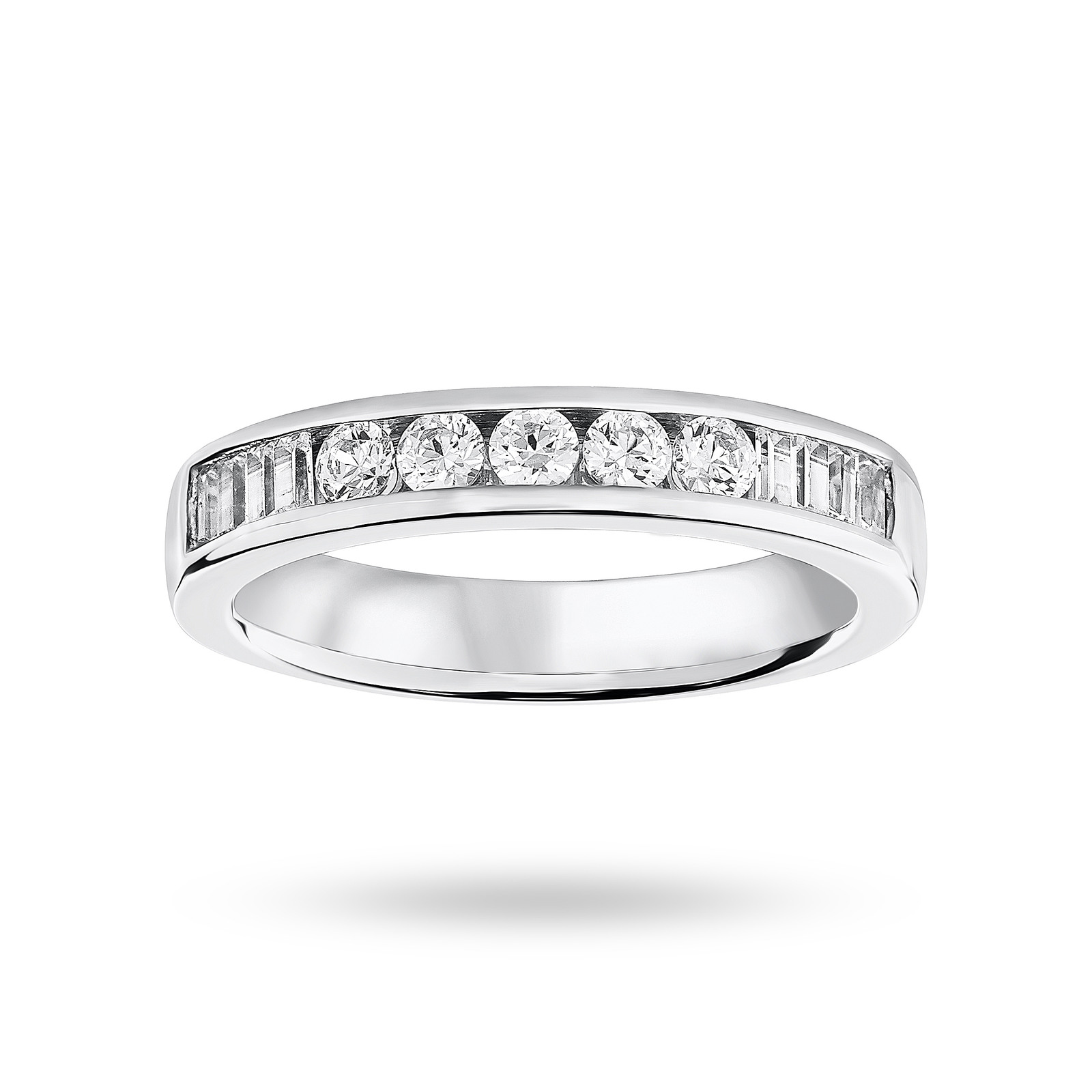 Platinum 0.50 Carat Brilliant Cut and Baguette Channel Set Half Eternity Ring