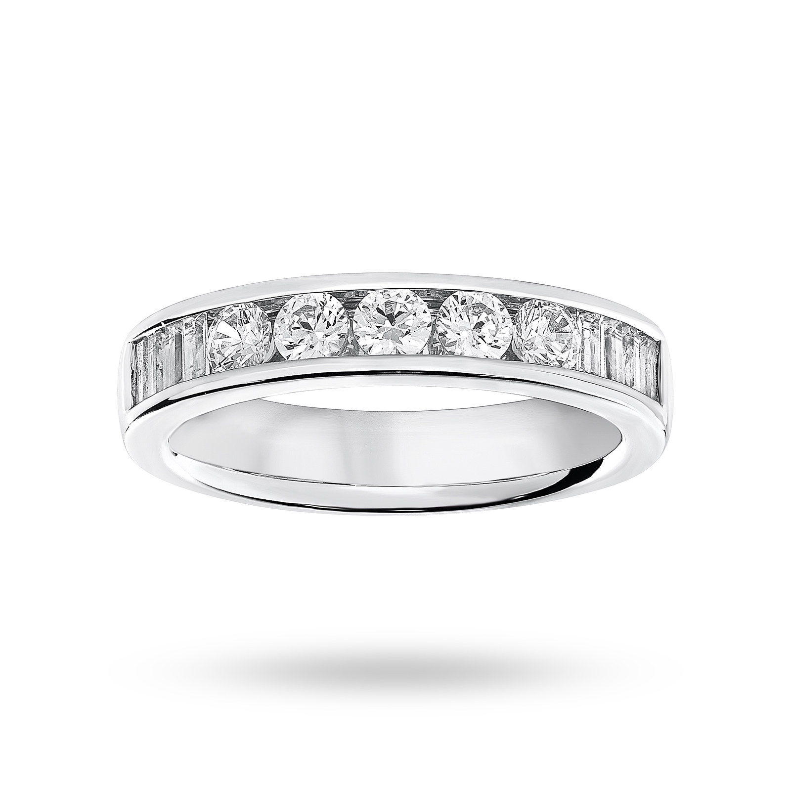Platinum 0.75 Carat Brilliant Cut and Baguette Channel Set Half Eternity Ring