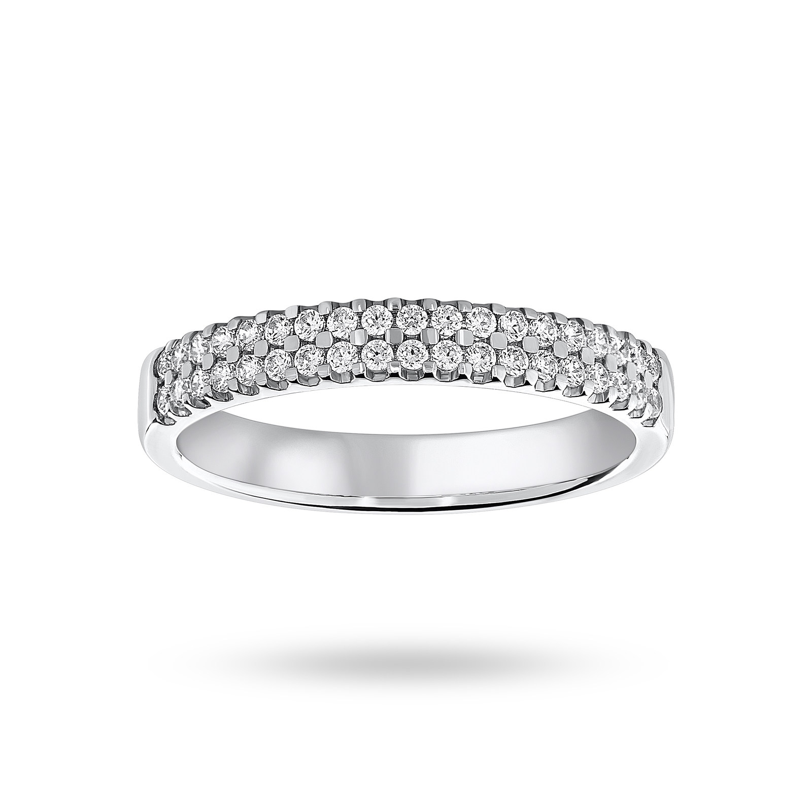 9 Carat White Gold 0.25 Carat Brilliant Cut 2 Row Claw Set Half Eternity Ring