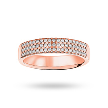 9 ct Rose Gold 0.29 cttw Round Brilliant Cut 3 Row Claw Set Half Eternity Ring