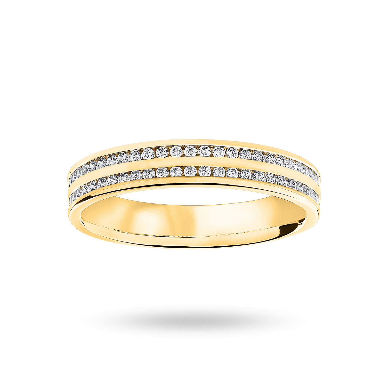 18 Carat Yellow Gold 0.28 Carat Brilliant Cut 2 Row Channel Set Half Eternity Ring