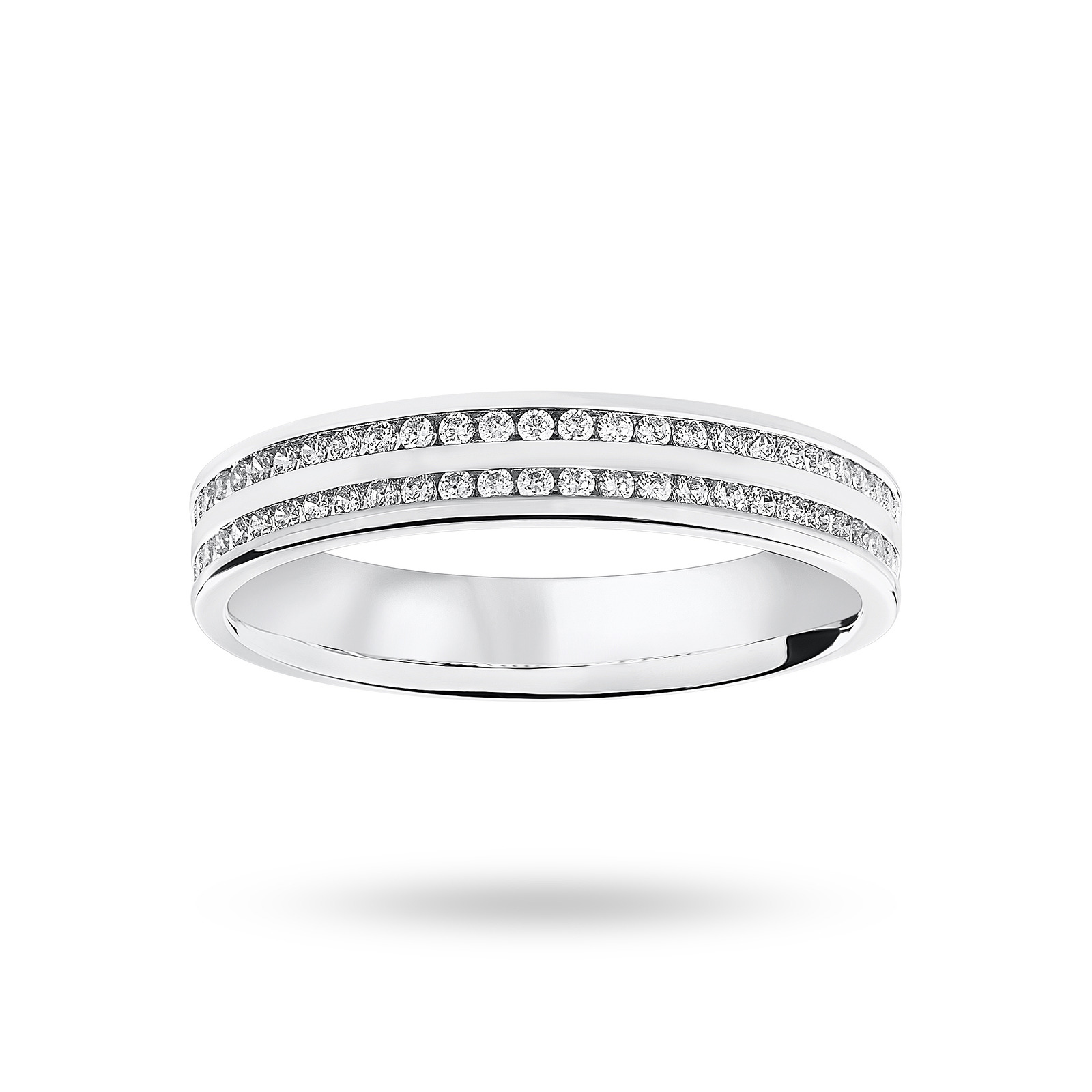 9 ct White Gold 0.28 cttw Round Brilliant Cut 2 Row Channel Set Half Eternity Ring