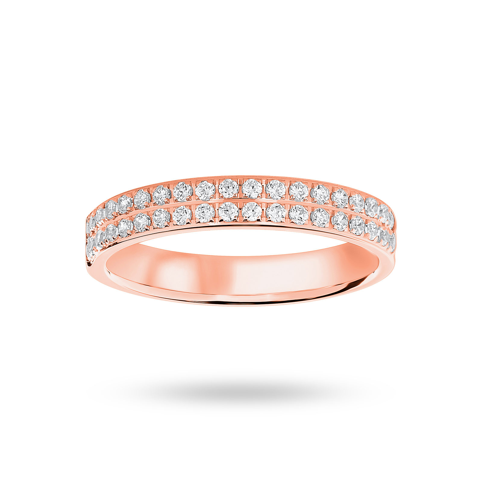 9 ct Rose Gold 0.25 cttw Round Brilliant Cut 2 Row Claw Pave Half Eternity Ring