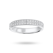 9 Carat White Gold 0.25 Carat Brilliant Cut 2 Row Claw Pave Half Eternity Ring