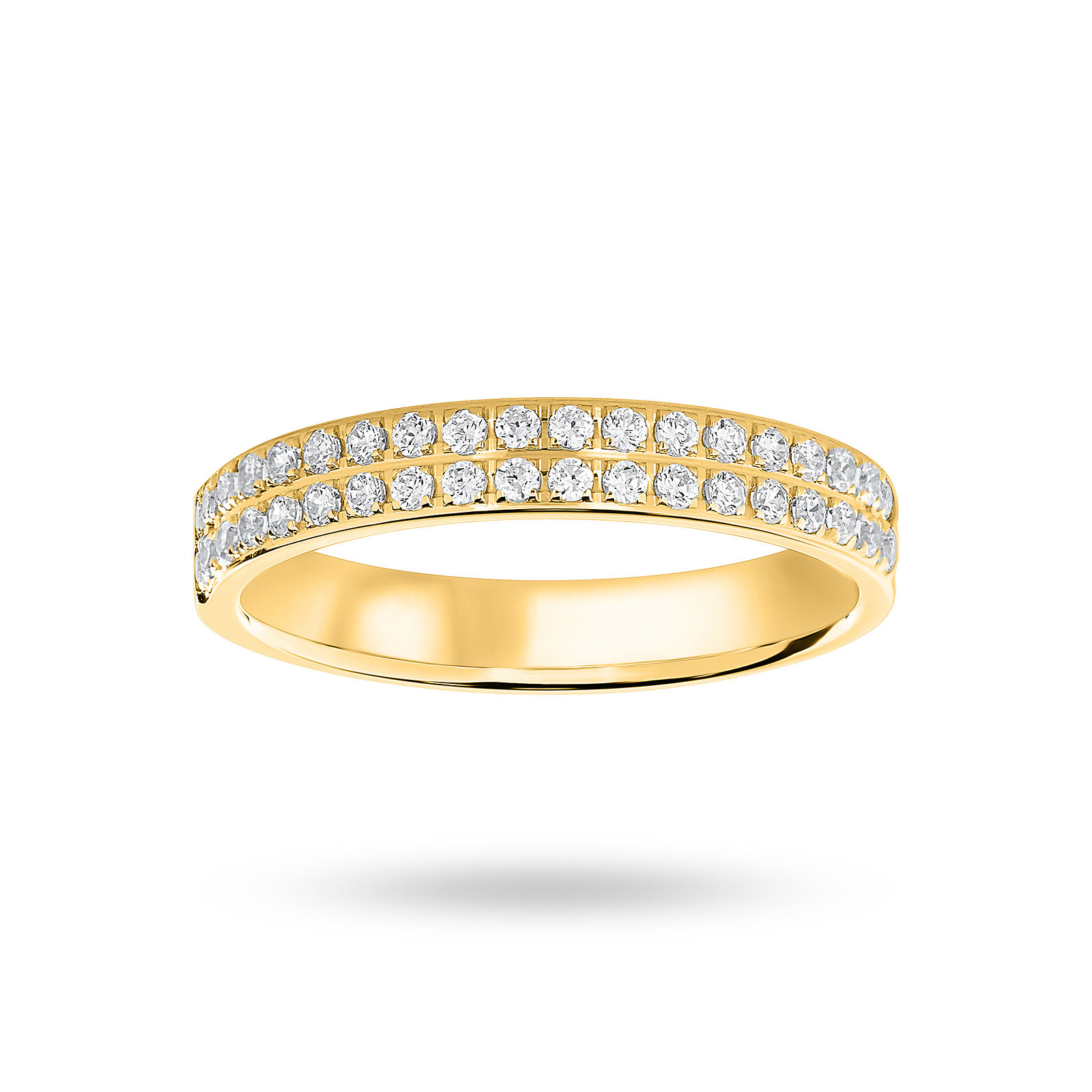 9 Ct Yellow Gold 0.25 Cttw Round Brilliant Cut 2 Row Claw Pave Half Eternity Ring