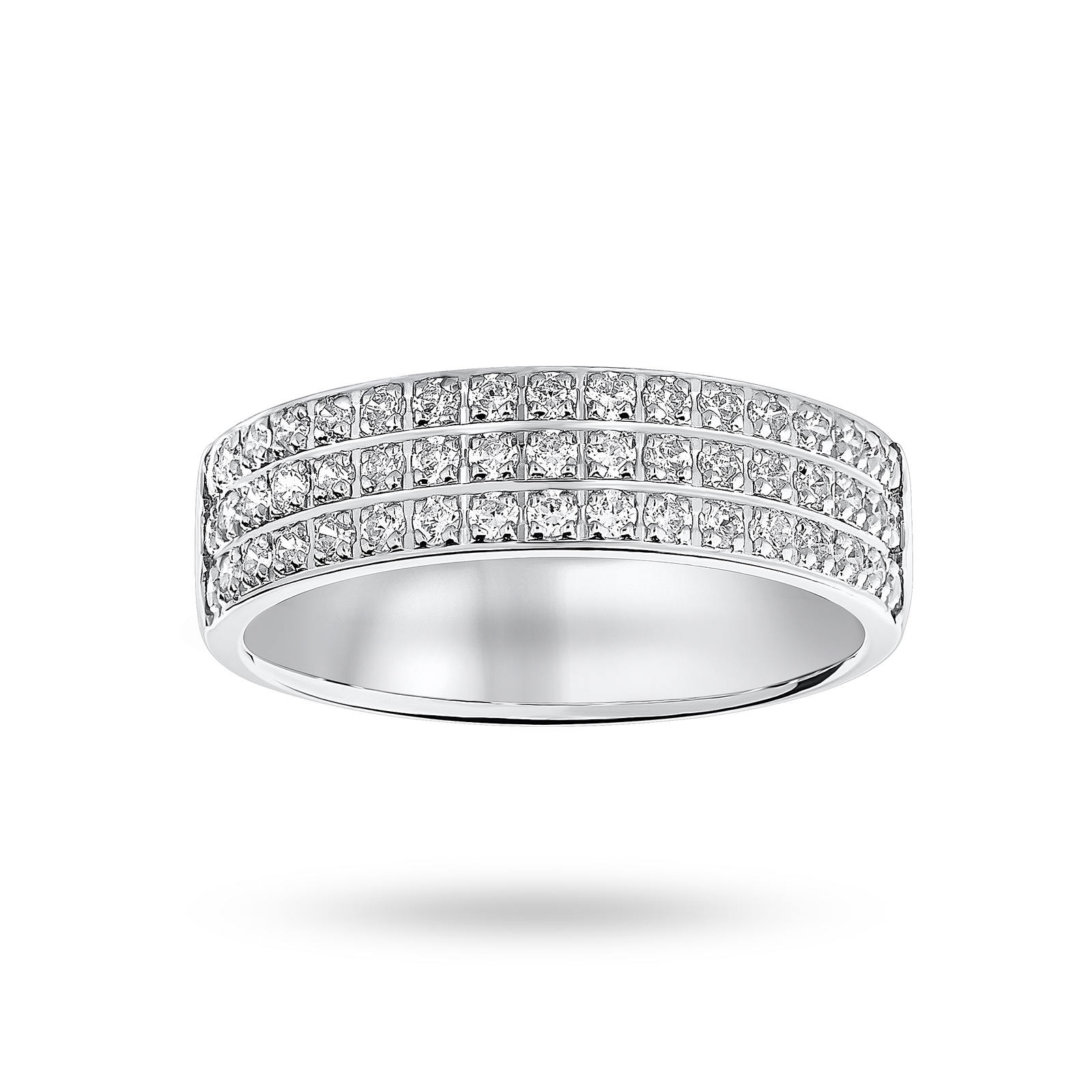 Platinum 0.50 Carat Brilliant Cut 3 Row Claw Pave Half Eternity Ring