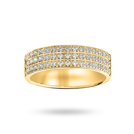 9 Carat Yellow Gold 0.50 Carat Brilliant Cut 3 Row Claw Pave Half Eternity Ring