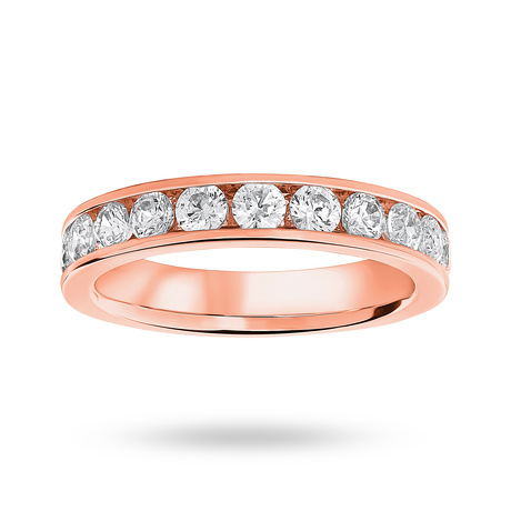 18 Carat Rose Gold 1.00 Carat Brilliant Cut Half Eternity Ring