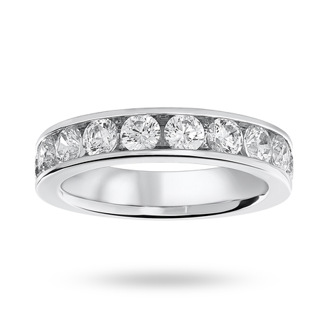 Platinum 1.50 Carat Brilliant Cut Half Eternity Ring