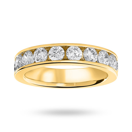 18 Carat Yellow Gold 1.50 Carat Brilliant Cut Half Eternity Ring