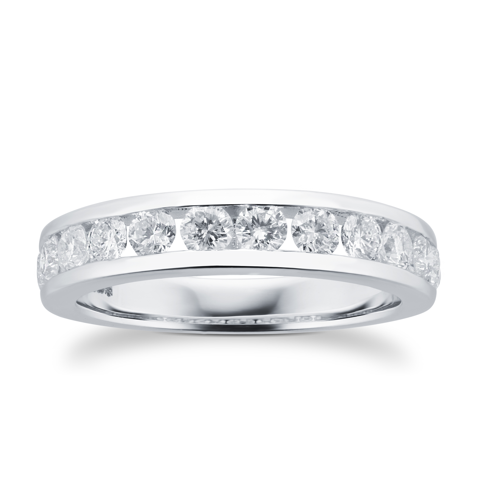 Brilliant Cut 1.00ct Channel Set Half Eternity Ring In 9ct White Gold