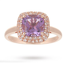 Amethyst and White Sapphire Ring in 9 Carat Rose Gold