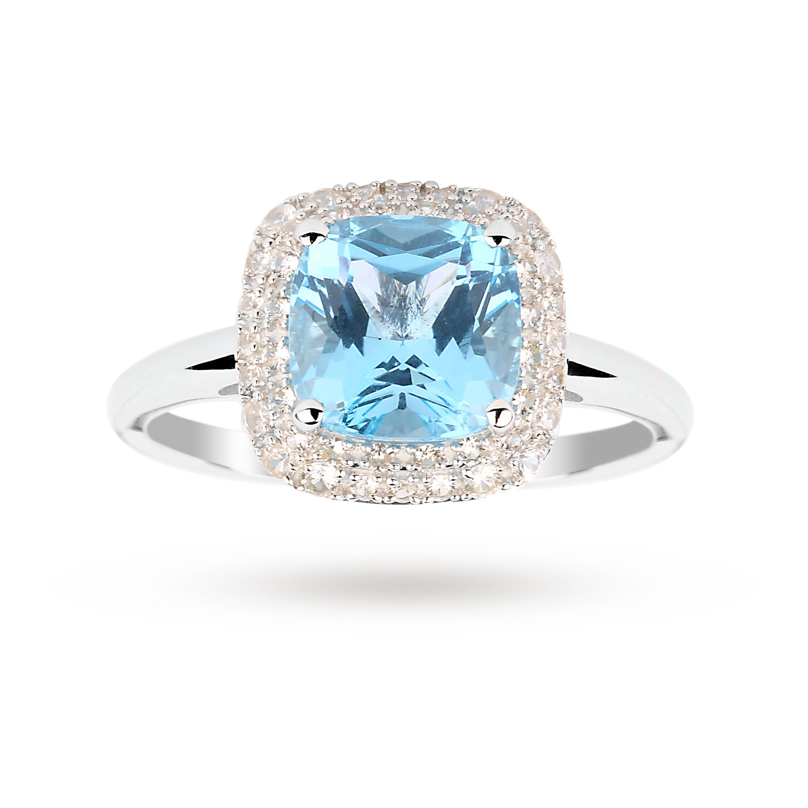 Blue Topaz and White Sapphire Ring in 9 Carat White Gold