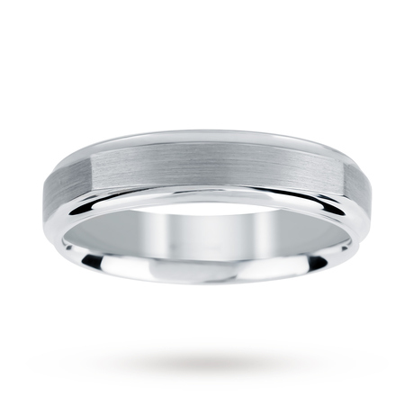 Brushed and Polished Square Edge Gents Ring in 950 Palladium