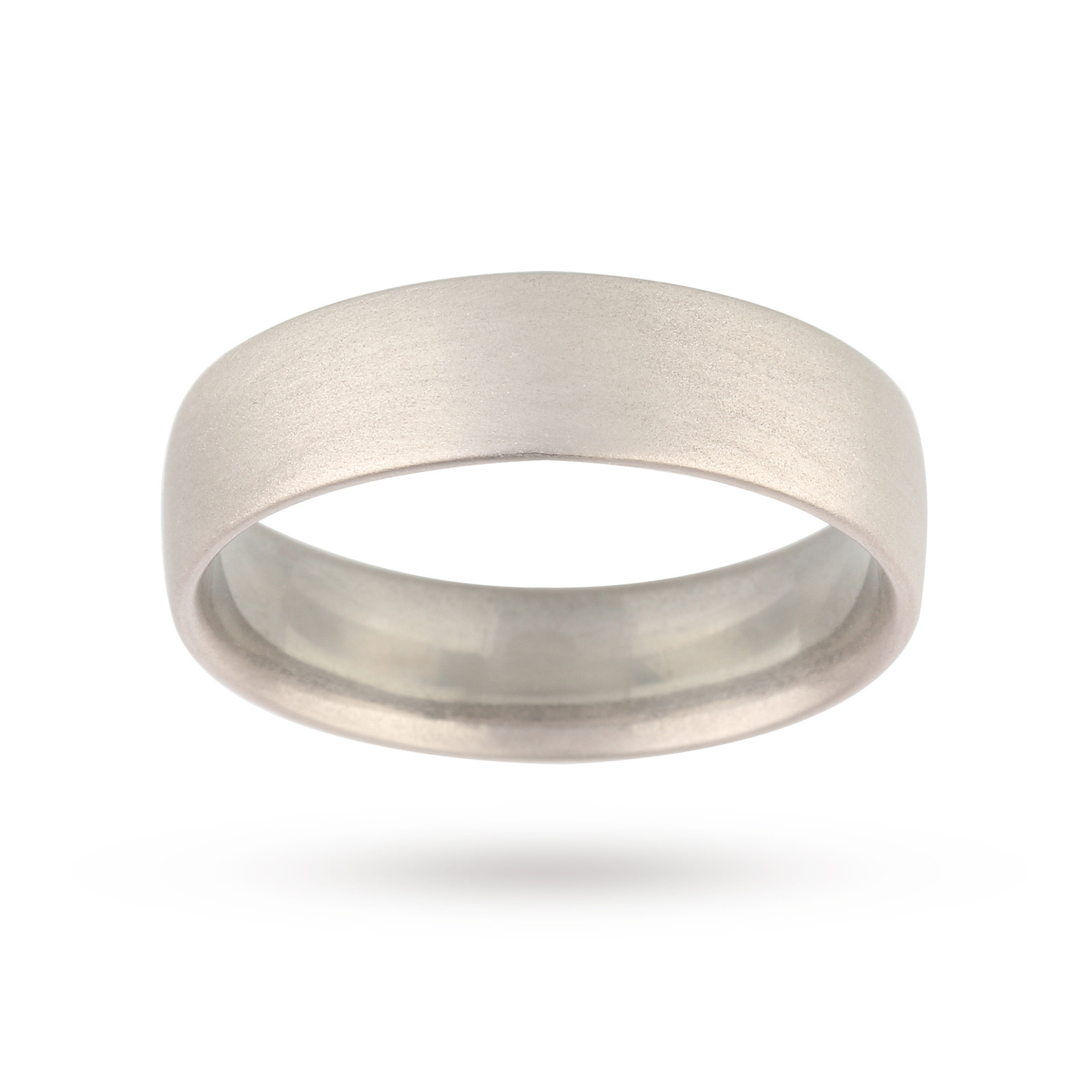 950 Palladium 6mm Softened Flated Gents Court Wedding Band