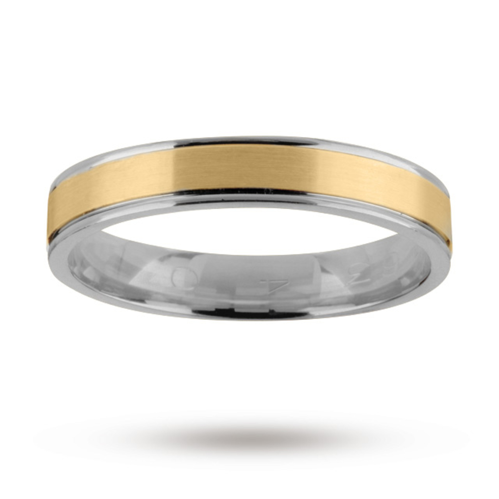 Gents wedding band in 18 carat yellow and white gold