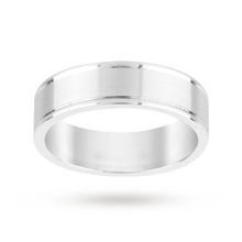 18 Carat White Gold 5mm Mens Plain Band