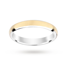 Silver and 9 Carat Gold Bonded Plain Polish Wedding Ring 3.5mm
