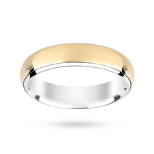 Silver and 9 Carat Gold Bonded Plain Polish Wedding Ring 5mm