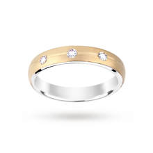 Silver and 9 Carat Gold Bonded 3 Stone Wedding Ring 5mm
