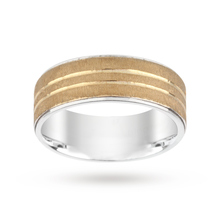 Silver and 9 Carat Gold Bonded Matt Centre Wedding Ring 8mm