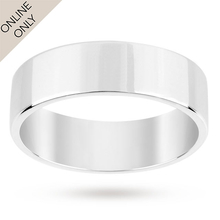 9 Carat White Gold Heavy Flat Court Polished Gents 6mm Wedding Ring